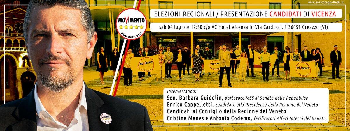ELEZIONI REGIONALI  PRESENTAZIONE CANDIDATI DI VICENZA  sab  lug ore : AC Hotel Vicenza Via Carducci, 1 Creazzo (VI) @Mov5Stelle @m5svi @cristinamanes2 @GuidolinBarbara @M5S_Senato @M5S_Camera #Vicenza #Veneto #elezioni #M5Spic.twitter.com/CassOckBQw