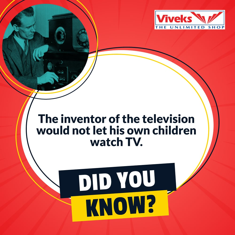 """Maybe he knew it would one day be called the """"idiot box"""". But everything in limitation is good fun as long as we don't exceed it. Follow our page for more interesting trivia.  #Nammaviveks #Trivia #Tv #lockdown #quarantine #Covid_19 #DidYouKnow #Electronicspic.twitter.com/cKp3rDvk93"""