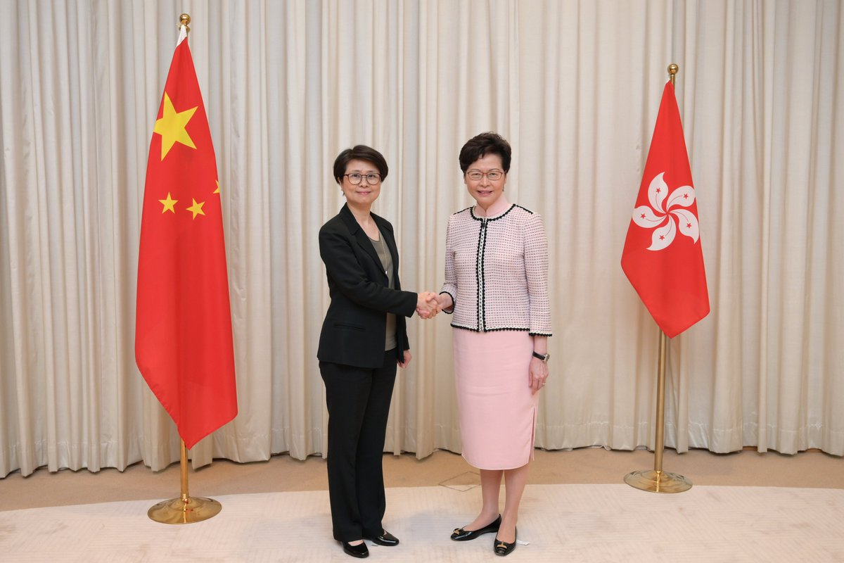 The Committee for Safeguarding National Security of the #HKSAR was established on Friday. Also on the same day, Edwina Lau Chi-wai (left) was appointed as the Deputy Commissioner of Police to lead the department for safeguarding national security of the police force. 📷HKSAR Govt https://t.co/ekmYKG9JNd