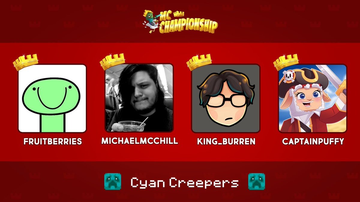 👑 Announcing Team Cyan Creepers! 👑  @froubery @Michaelmcchill @King_Burren @CptPuffy  Watch them compete in the MC Championship on Saturday 18th July 8pm BST!  https://t.co/RtzyjRhWOm https://t.co/0AK2gS3ZeL