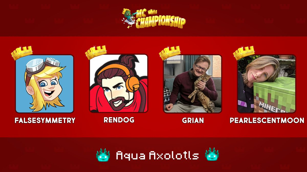 👑 Announcing Team Aqua Axolotls! 👑  @falsesymmetry @renthedog @GrianMC @PearlescentMoon  Watch them compete in the MC Championship on Saturday 18th July 8pm BST!  https://t.co/RtzyjRhWOm https://t.co/wvzjF1wkJE