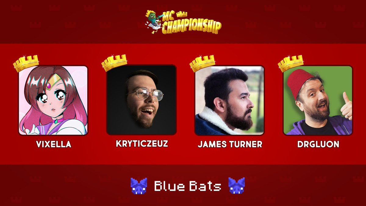 👑 Announcing Team Blue Bats! 👑  @Vixella @KryticZeuz @JamesTurnerYT @Drgluon  Watch them compete in the MC Championship on Saturday 18th July 8pm BST!  https://t.co/RtzyjRhWOm https://t.co/AbodfoeSEL
