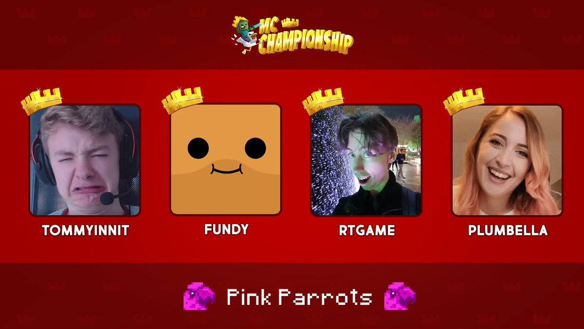 👑 Announcing Team Pink Parrots! 👑  @tommyinnit @fundylive @RTGameCrowd @plumbellayt  Watch them compete in the MC Championship on Saturday 18th July 8pm BST!  https://t.co/RtzyjRhWOm https://t.co/8mKMoV3aDw