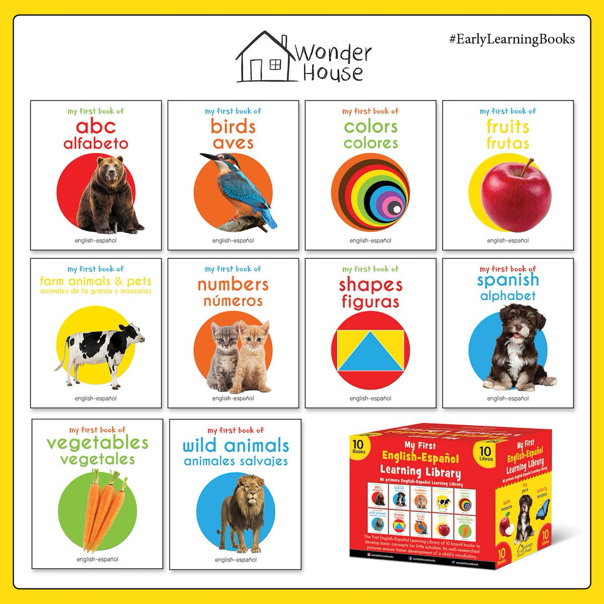 This  box set of English-Spanish board books is perfect for your little one to teach basic concepts faster. These bilingual books teach every day topics in both languages and helps to build a robust vocabulary. Available on amazon  #wonderhousebooks #bilingualbooks pic.twitter.com/BJx2Gz9JFn