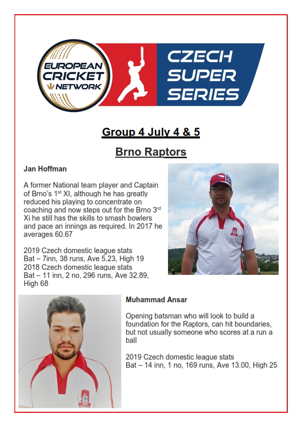 Who will be the star players for Brno Raptors in this weekend's group 4 ECN Czech Super Series? Here are our pics.  #Kriket #cricket #CzechRepublic pic.twitter.com/8yUxpBFPYv
