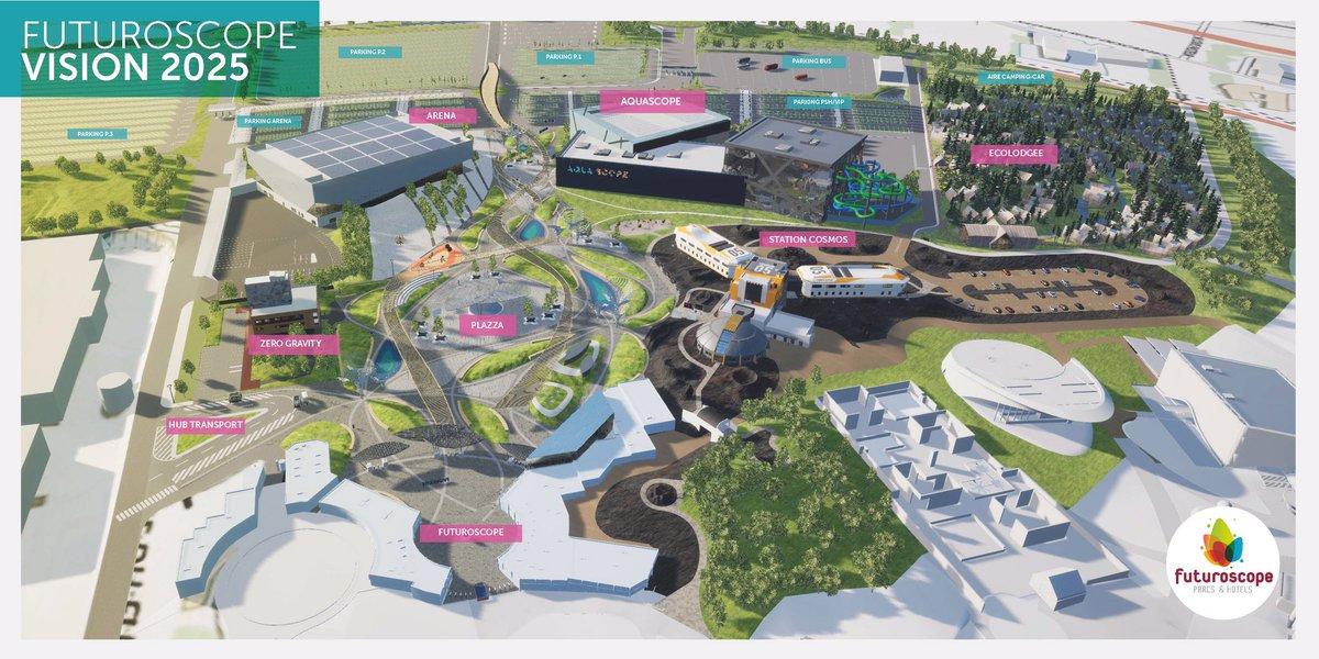 Le #Futuroscope engage sa mue pour devenir un véritable resort d'ici 2025. ➡️ Deux nouveaux hôtel à haut standing ➡️ Un parc aquatique #AquaScope ➡️ Une entrée totalement repensée ➡️ De nouvelles attractions  Le tout pour un investissement global de 304M d'€  📷 @departement86 https://t.co/OobqQYy24i