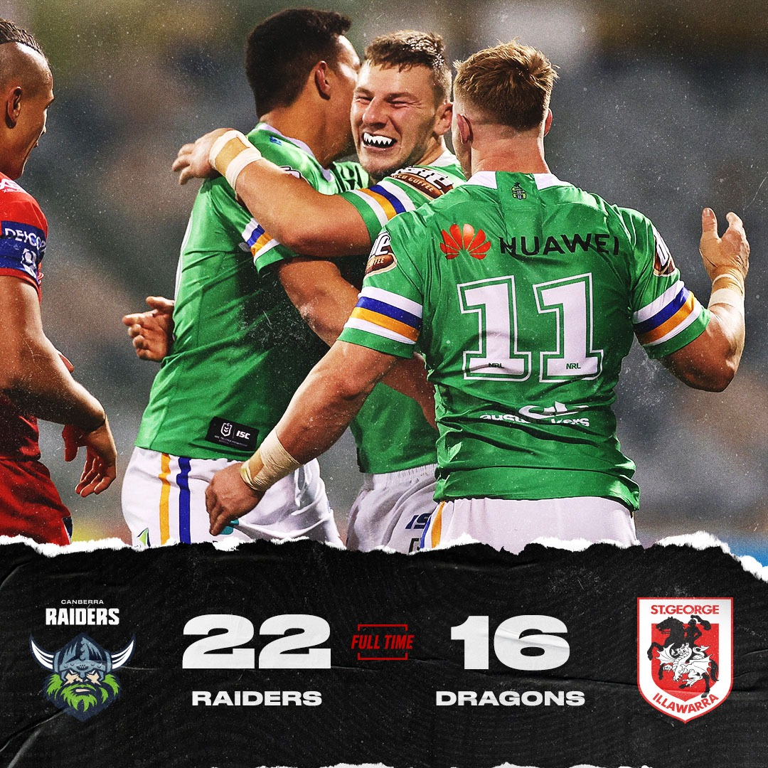 .@RaidersCanberra get the win, but Ricky Stuart won't be overly thrilled after they had led 18-0 at halftime! https://t.co/T9AYt60XeA