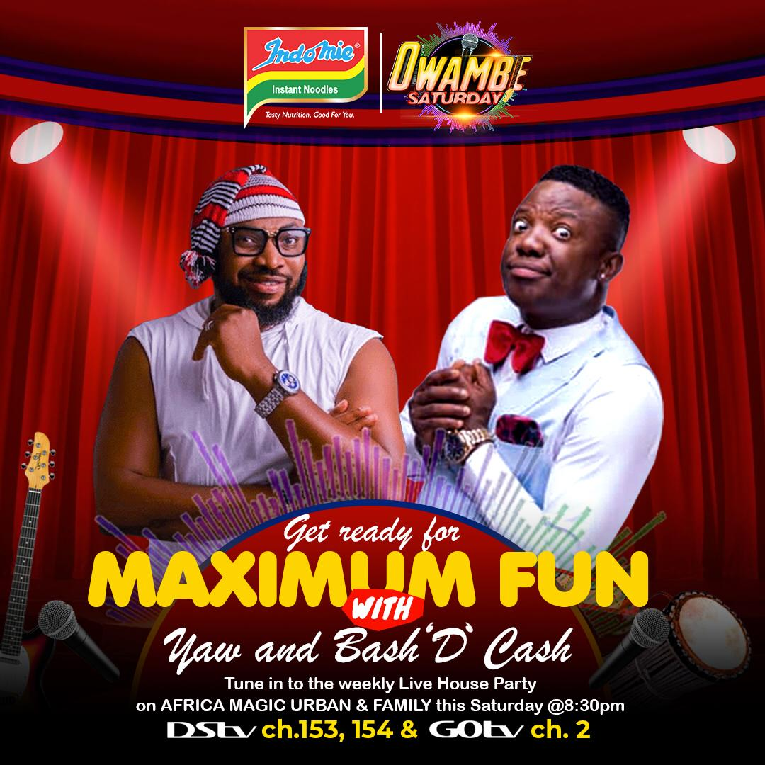 Who else is down for some RIB CRACKING Indomie Owambe Saturday moments😂😂😂??? Because we are🙋🏾‍♀️💁🏾‍♂️!!!  So make una pack well this Saturday and get ready to have fun with our special guest @officialbashtv 💃🏾🎊🎉 https://t.co/sb6qiwUSGp