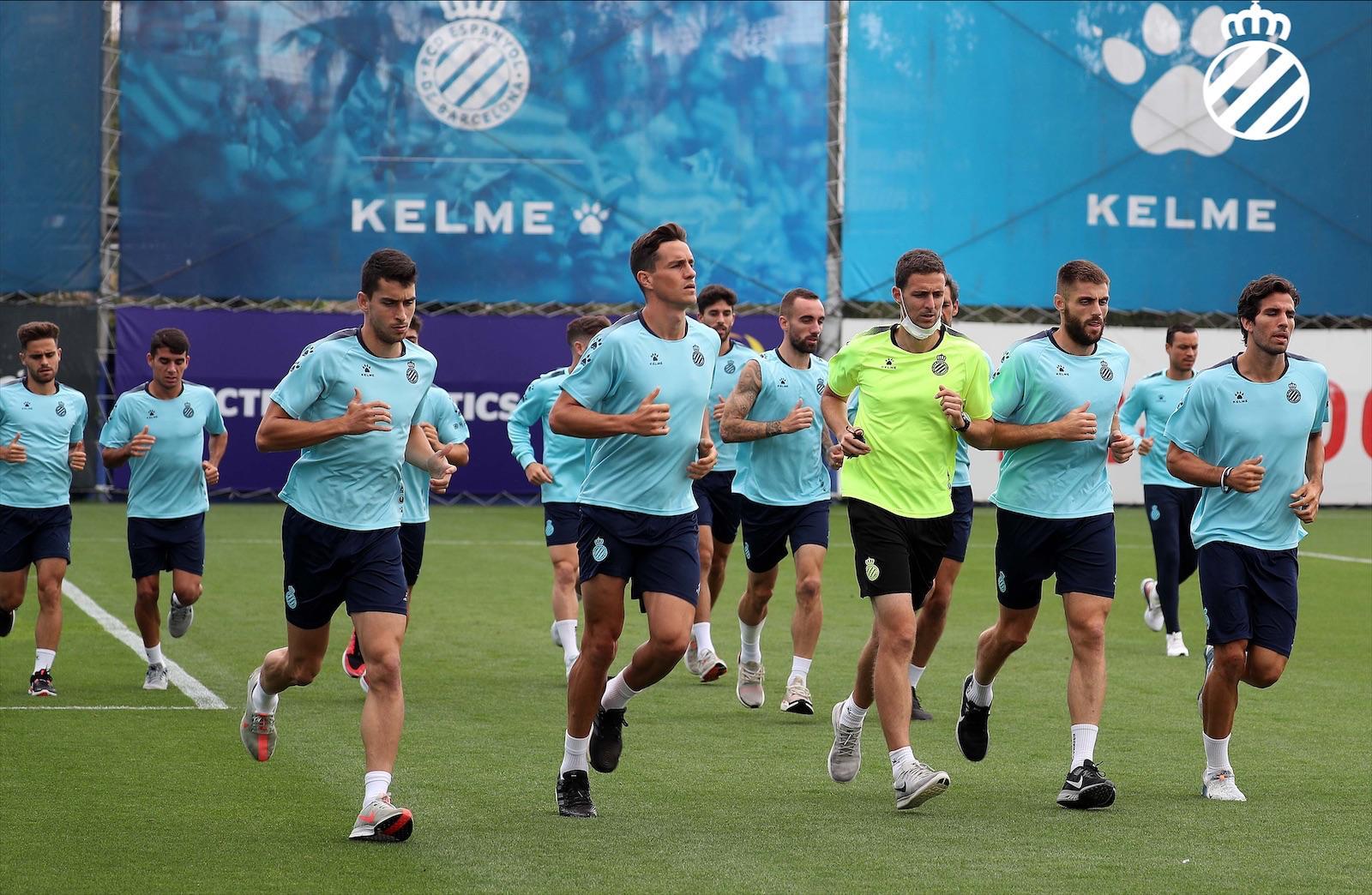 Los jugadores del Espanyol, en una sesión (Foto: RCDE).