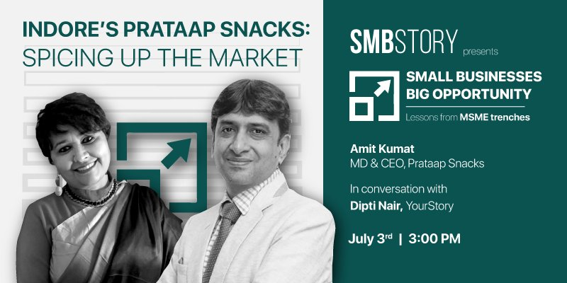 We are live with the latest episode of #SMBStory's 'Small Businesses Big Opportunity' with Amit Kumat, MD & CEO, Prataap Snacks in conversation with Dipti Nair  @DiptiDaveNair   Watch it live here: https://yourstory.com/webinar/indores-prataap-snacks …pic.twitter.com/VYHZRcXenM