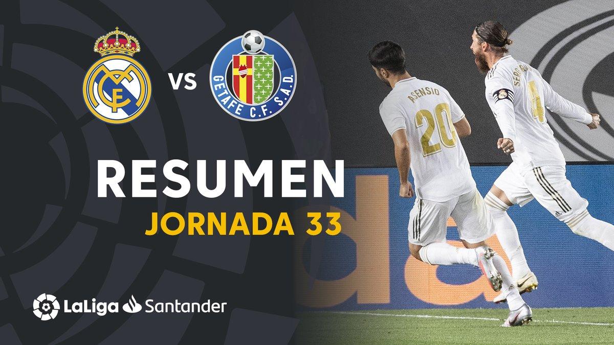 ⚽️ #RealMadridGetafe  🏟️ Un gol de penalti de @SergioRamos deja al @realmadrid líder a 4 puntos del @FCBarcelona_es  👀 ¡Lo mejor del partido! 👉🏾 https://t.co/5R80FGmGZ1  💪🏾 #SalimosARemontar https://t.co/nNJ67FHckE