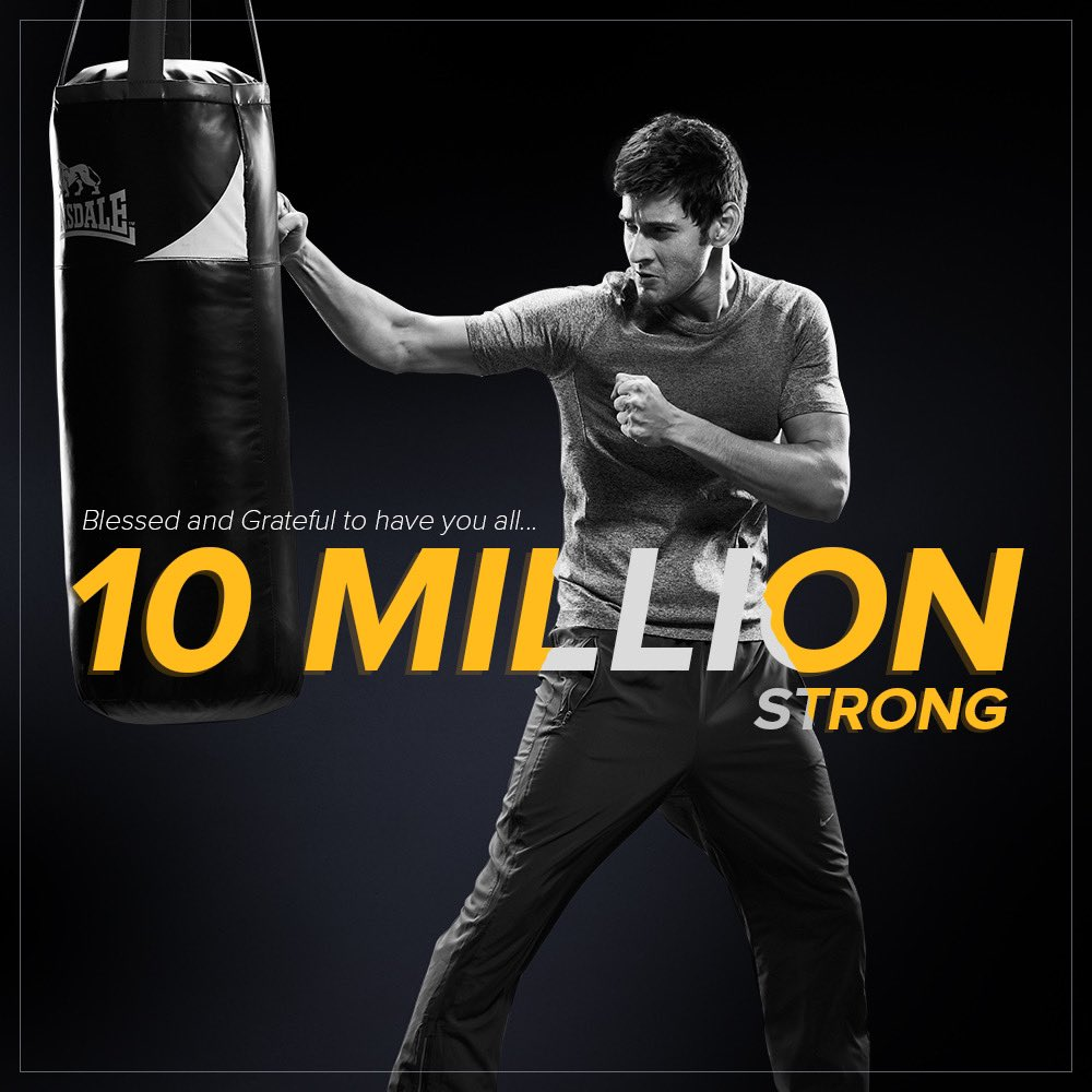 10 MILLION thanks can never sum up the immense gratitude I have! Truly happy to be virtually connected with all of you... Much love🤗 #10MillionStrong https://t.co/xIA8Oa7zdk