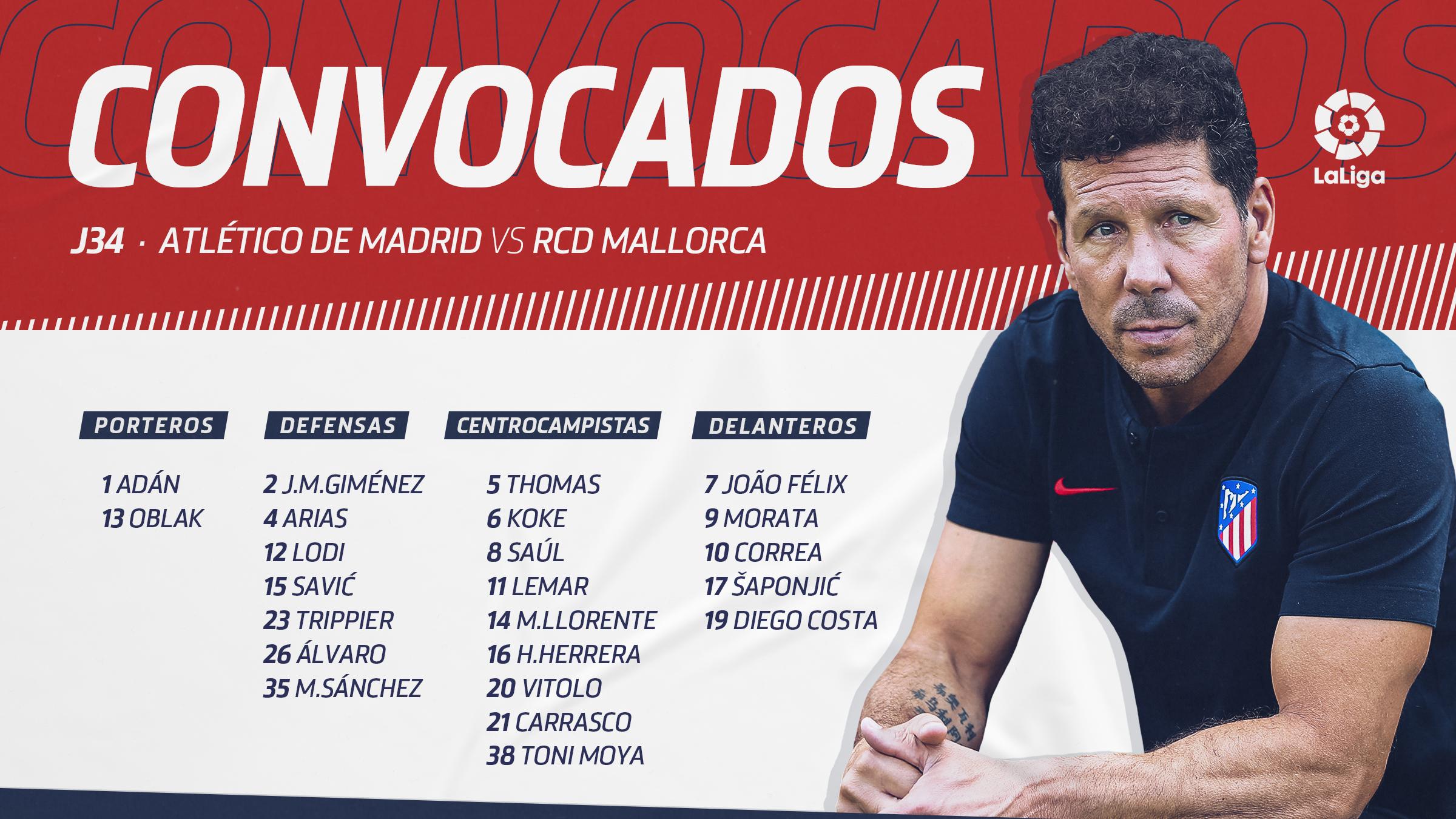 La convocatoria del Atlético de Madrid ante el Mallorca.