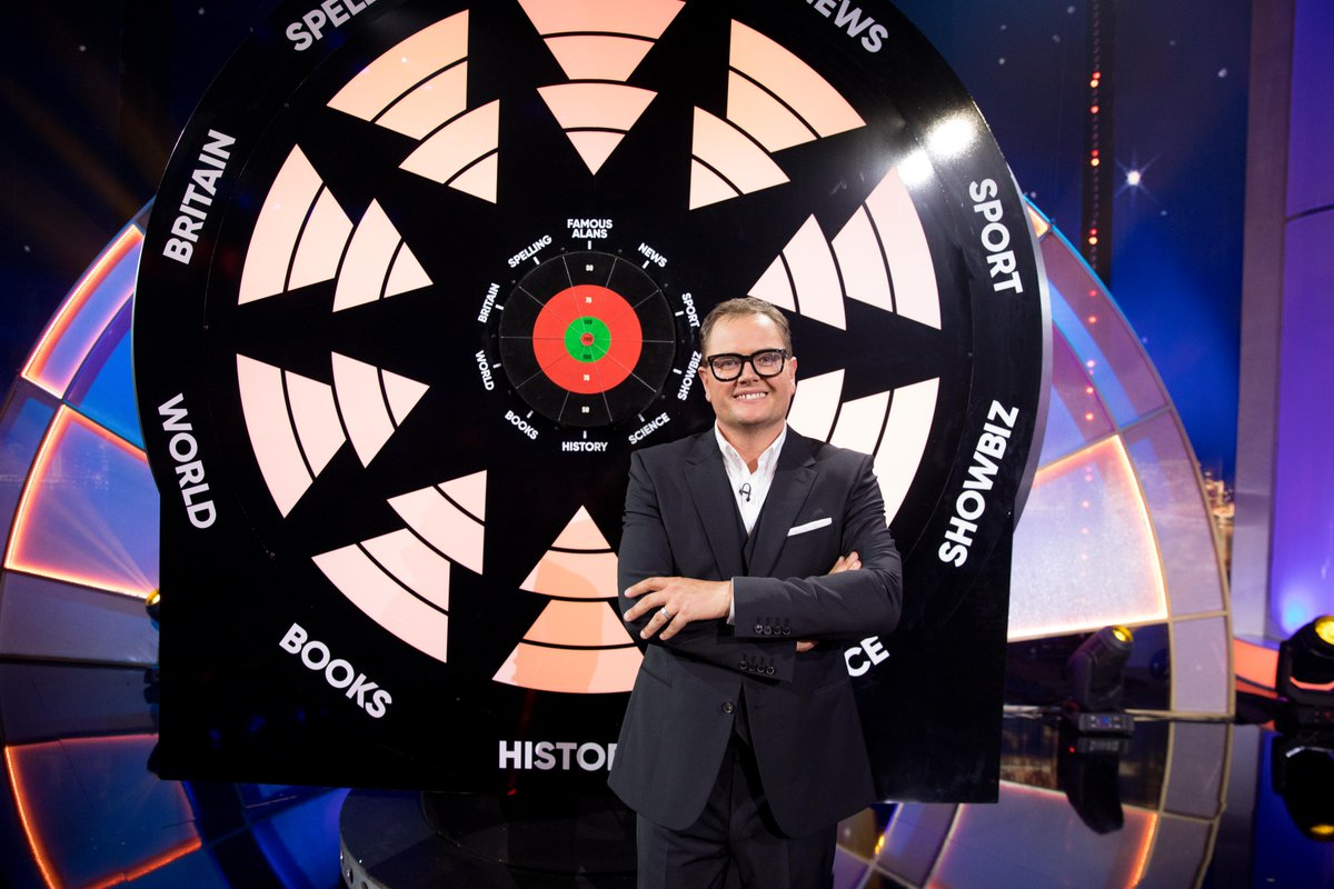Tonight it's the final episode of Alan Carr's #EpicGameshow and this time, you can't beat a bit of Bully! Bullseye returns at 7:30pm on @ITV as four pairs take on the dart board. With a host of epic prizes up for grabs, will a speedboat be amongst them? https://t.co/6MJSXlsNry