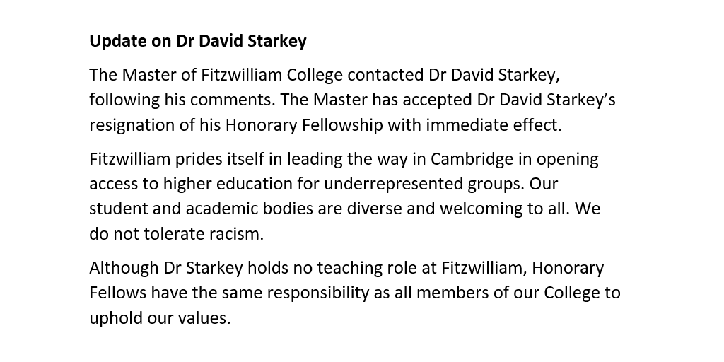 Update on Dr David Starkey: