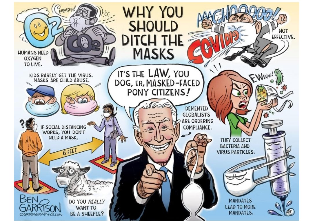 """Shaun on Twitter: """"big fan of this garrison cartoon titled 'why you should  ditch the masks' in which masks simultaneously deprive people of oxygen,  allow covid-19 to pass through freely, and 'collect"""