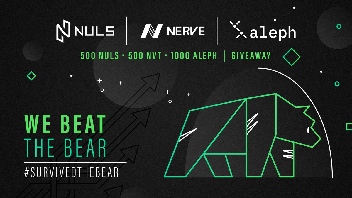 The bear market was brutal on most projects, but others survived and thrived! @Nuls, @nerve_network & @aleph_im are giving away 500NULS, 500NVT & 1000ALEPH For a chance to win! Follow @nuls, @nerve_network & @aleph_im Comment below #survivedthebear & NULS address #Like #Retweet