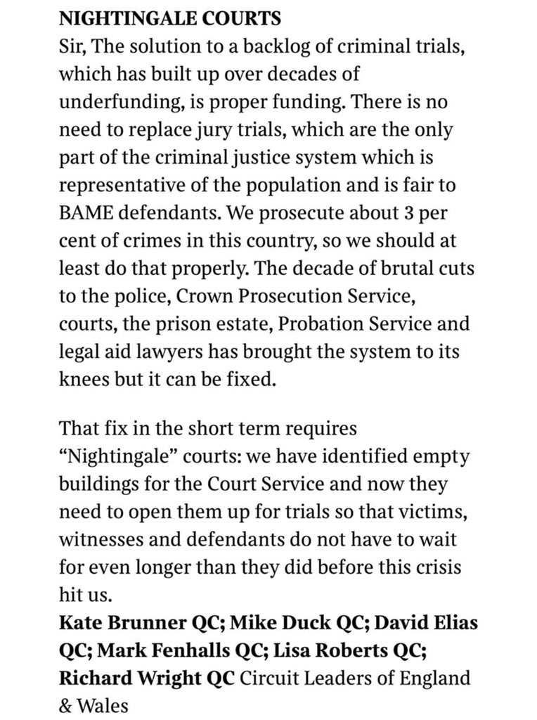 Nightingale Courts! Jury-less Trials!! Proper funding is the solution say Circuit Leaders of England & Wales #accesstojustice #justiceheroes https://t.co/svLiGGUayO