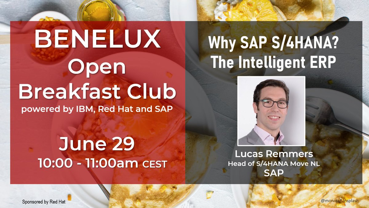 This morning, @SAP's Lucas Remmers will talk about Why customers care about #SAP #S4HANA at the #Benelux Open Breakfast Club powered by #IBM #RedHat and #SAP : Get your seat at https://t.co/CEPvUKvKmt   @RedHatNL @lucasremmers @SAP_Nederland @Konijnenburg @tamas_szirtes https://t.co/EhuSNrvQDR