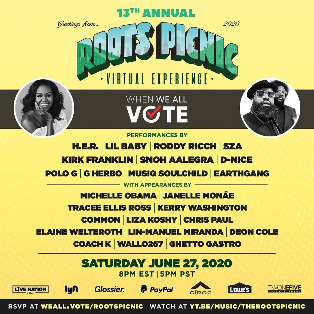 We're proud to support the @RootsPicnic Virtual Experience, this Saturday June 27 at 8 p.m. EDT/5 p.m. PDT. Learn more here: https://t.co/vYb5q116kA #RootsPicnic