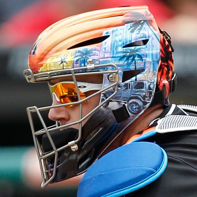 Happy birthday to former Florida/Miami #Marlins catcher @johnbuck44! Buck played for the Fish from 2011-2012. John Buck's amazing hockey style mask designs made him well-known league-wide. #MLB ought to end the rule that prevents catchers from doing this. https://t.co/QcrypkMz67 https://t.co/ihOdEUP4Ve