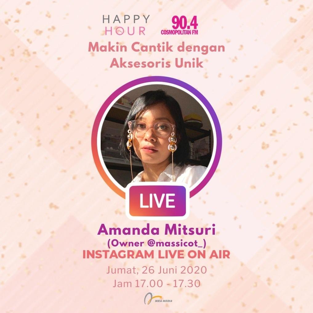 Dengar dan saksikan obrolan Instagram Live On Air bersama @amandamitsuri owner dari @massicot_, di #HappyHour hari ini, pukul 17.00 - 17.30 WIB, yang akan ngobrol seru tentang aksesoris penunjang penampilan Anda #SahabatPerempuan #TetapMRApat #KembaliKeStudio https://t.co/ox1xxdbVtN