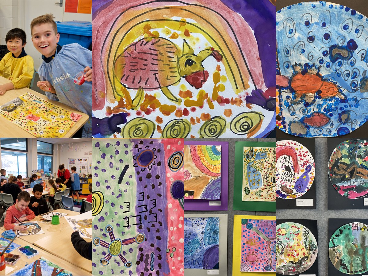 Primary School students have created colourful artwork inspired by the techniques & colours of Aboriginal & Torres Strait Islander artists. Duncan Smith is one of our First Nations Peoples colleagues & has helped us explore Indigenous art through knowledge-sharing!