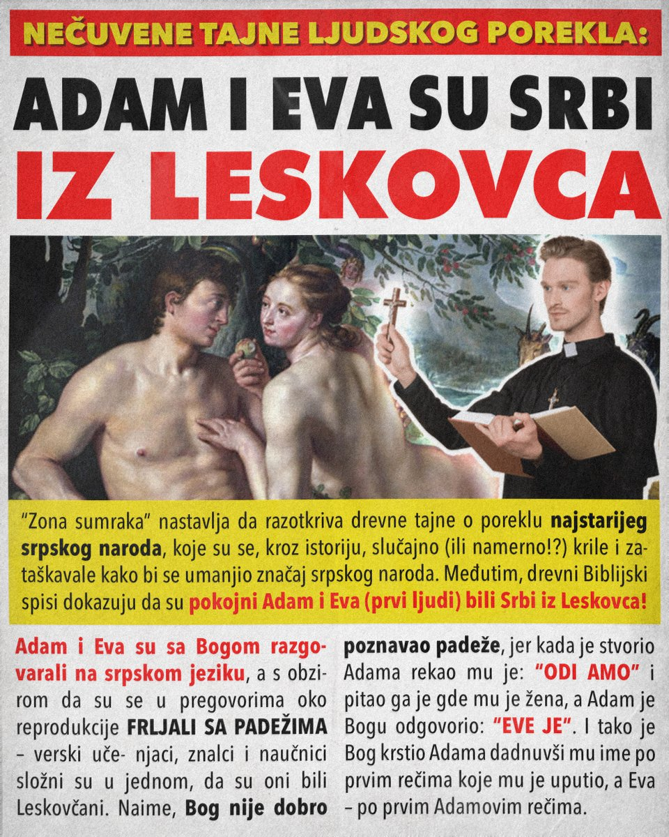 Adam i Eva su Srbi iz Leskovca
