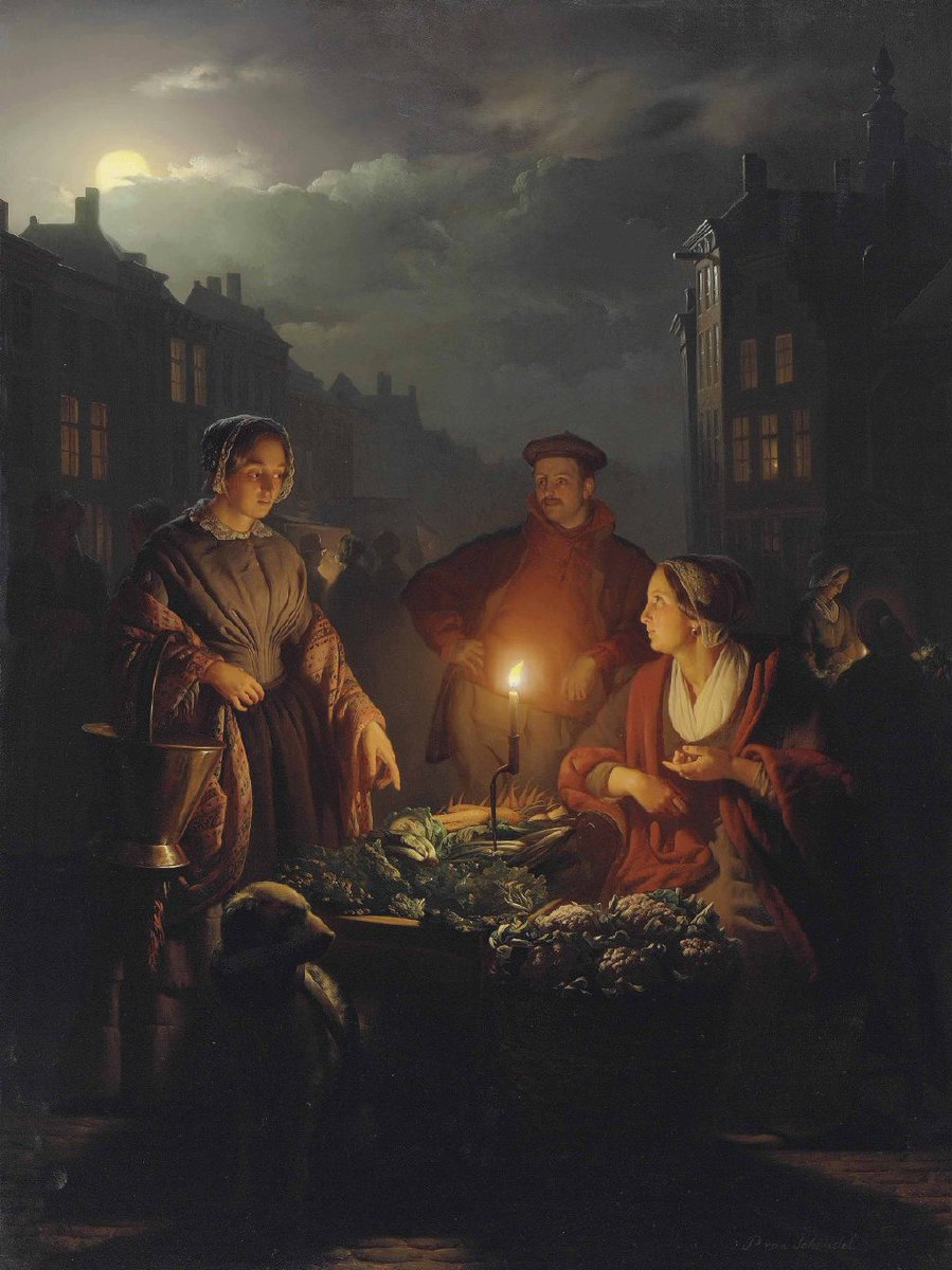 <A candle in the night> Petrus Van Schendel (1806-1870) was a Dutch-Belgian genre painter in the Romantic style who specialized in nighttime scenes, lit by lamps or candles. This led to him being known as Monsieur Chandelle.