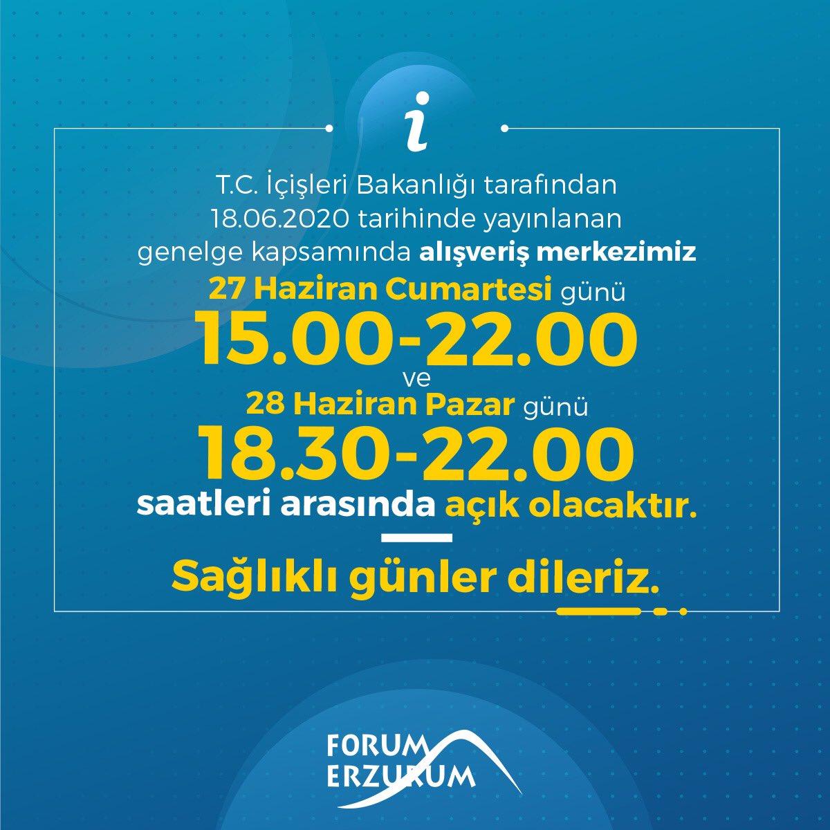 T.C İçişleri Bakanlığı tarafından 18.06.2020 tarihinde yayınlanan genelge kapsamında alışveriş merkezimiz 27 Haziran Cumartesi günü 15.00-22.00 ve 28 Haziran Pazar 18.30-22.00 saatleri arasında açık olacaktır. Sağlıklı günler dileriz. https://t.co/9eNpYU1tcq