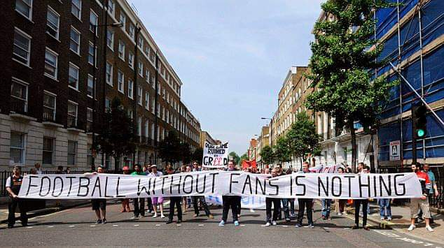 MOMS attended the @WeAreTheFSA march to the Premier League offices seven years ago (this week) to protest about ticket prices and PL greed. The message on that main banner has certainly been further proved by the behind-closed-doors restart games.