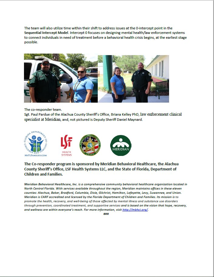 Meridian Partners with @AlachuaSheriff for Co-Responder Program https://t.co/eLtYQpkIyf @LutheranServFla https://t.co/KIuA2XMODP