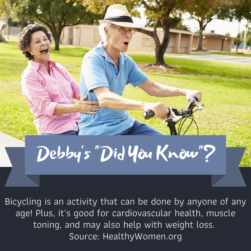 Bicycling is an activity that can be done by anyone of any age! Plus, it's good for cardiovascular health, muscle toning and may also help with weight loss. Source: https://t.co/fr2YlLGwce #DebbysDidYouKnow #WorldBicycleDay #RideABike https://t.co/SXMGplDom1