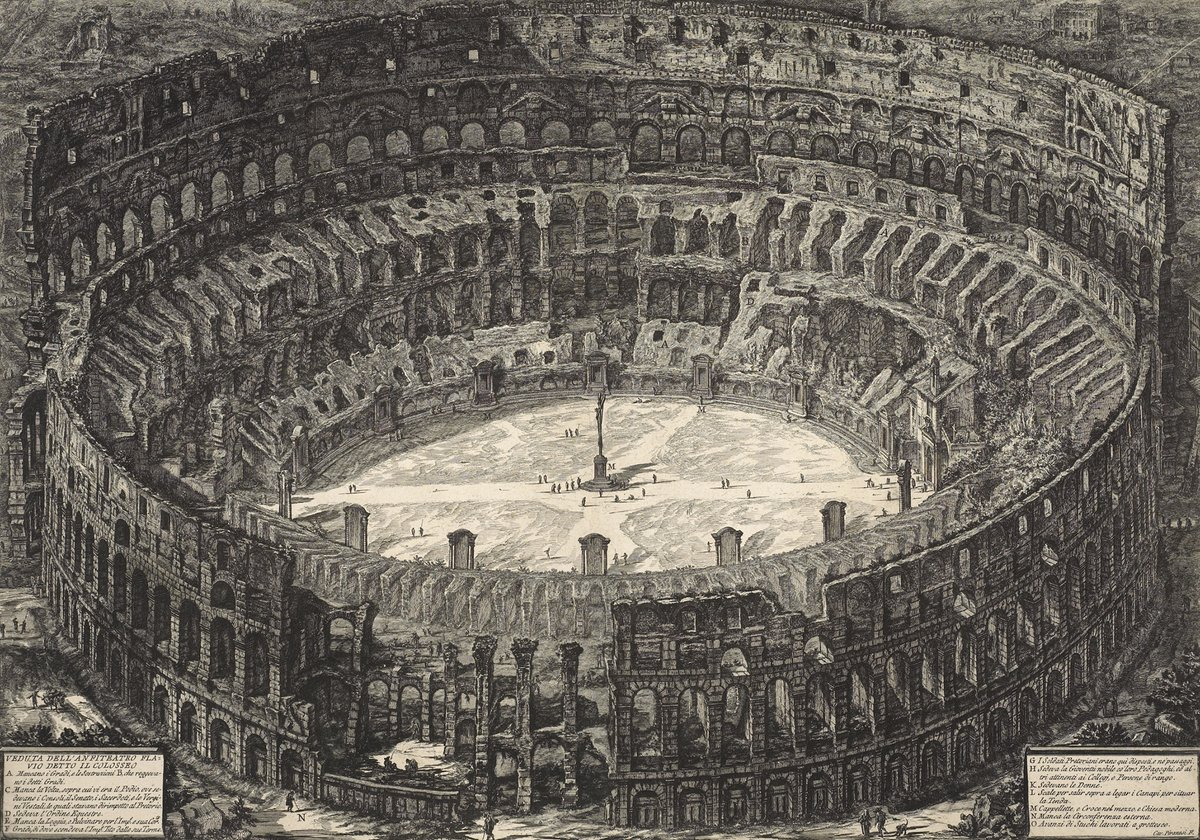 The Flavian Amphitheatre – better known as the Colosseum – is shown in this birds-eye view by 18th-century artist Giovanni Battista Piranesi. He was known for his views of architecture, and his fantastical architectural creations ow.ly/SkLv30qTfv1