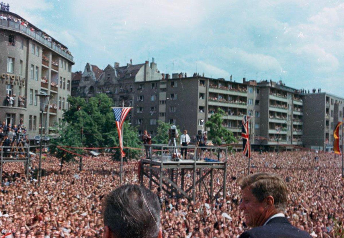 "Crowd of more than million for JFK in Berlin today 1963--""Ich bin ein Berliner"":"