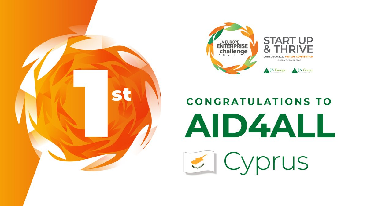 And the Enterprise of the Year 2020 is... AID4ALL from #Cyprus!! 🇨🇾👏 The team showed great passion, excellent preparation and a strong collective commitment to succeed, and have thus been recognised as winners of the #JAEEC20 - Congratulations!! https://t.co/AYIWDzRgCa https://t.co/CUA163atLP