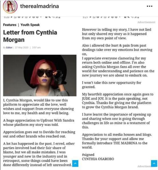 cynthia morgan letter
