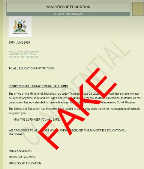 #FakeNews:It has come to our attention that a document with information about reopening of institions is making rounds online. This is fake! Kindly treat it with the contempt it deserves.