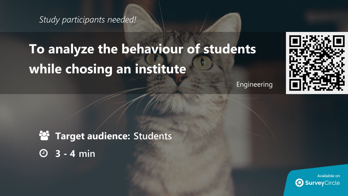 "Participants needed for online survey!  Topic: ""To analyze the behaviour of students while chosing an institute"" https://www.surveycircle.com/en/surveys/?sr=r2#25b603e0196d … via @SurveyCircle  #behaviour #cat #exam #2020 #coaching #institute #CoachingInstitute #students #survey #surveycirclepic.twitter.com/9V9kL0KGFU"