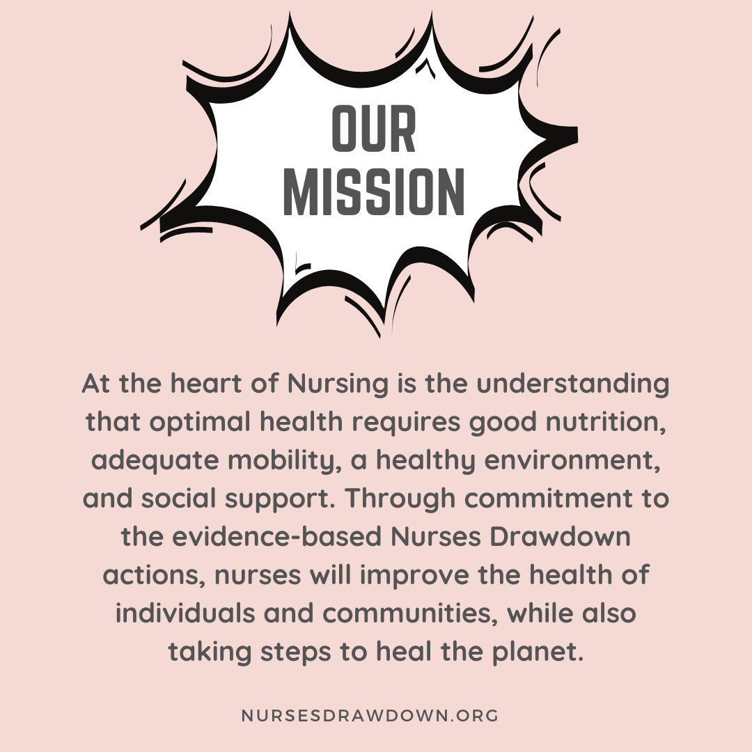 Nurses Drawdown is LIVE! We're inviting nurses around the world to join the #NursesDrawdown movement by taking personal & professional action in one of five key areas:  🍎 FOOD 💁🏾‍♀️ GENDER EQUITY 👟 MOBILITY ⚡️ ENERGY 🌳 NATURE  Join us at https://t.co/8Uaf0QYiTD https://t.co/abAPUw8pg9