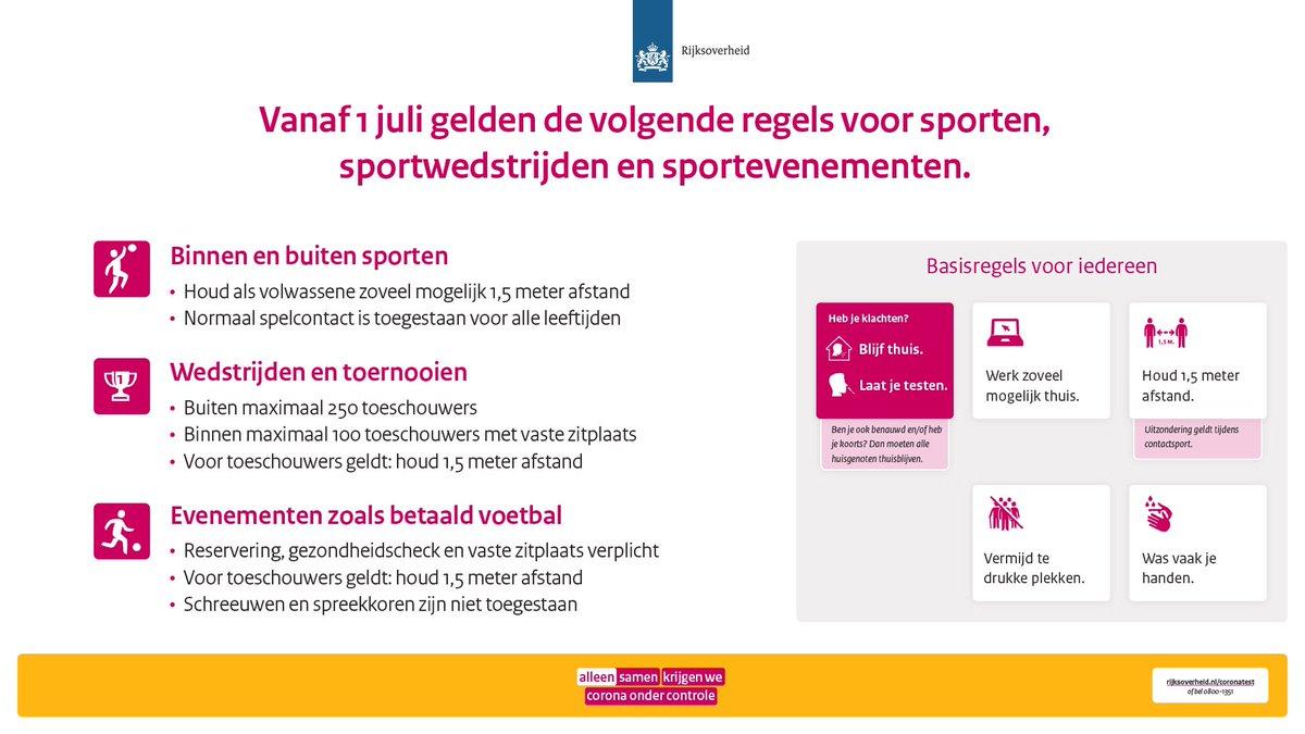 test Twitter Media - Binnensport accommodaties -zoals sportscholen- mogen hun deuren vandaag (1 juli) weer openen. Zo kan en mag iedereen weer sporten. Ook wedstrijden, toernooien en sportevenementen zijn toegestaan. Wel gelden een aantal regels.   Lees meer: https://t.co/vXsR4r7Sab #alleensamen https://t.co/VwyqkbGton