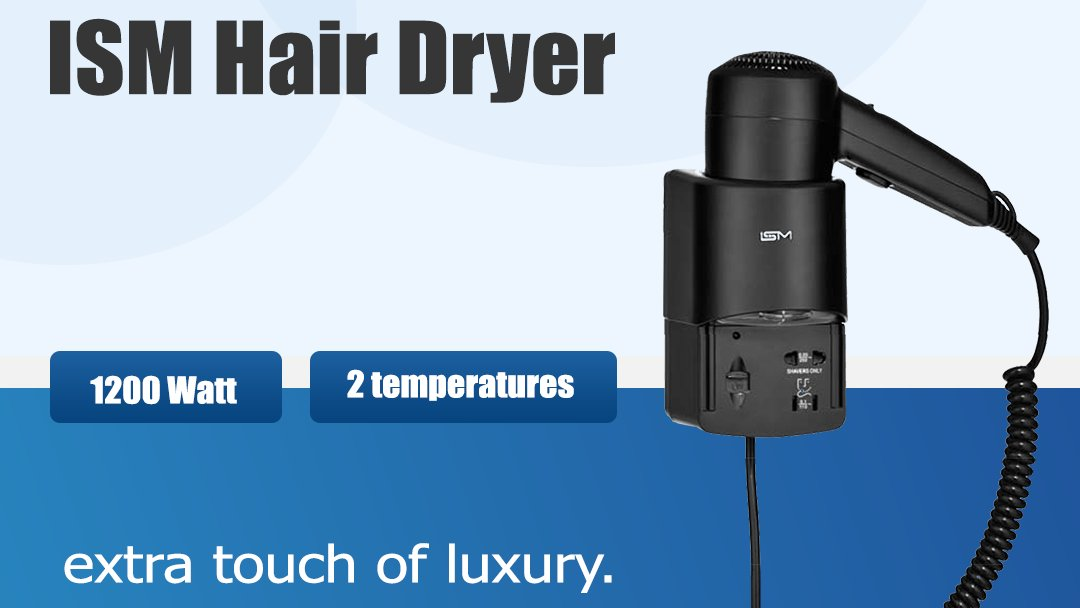 ISM hair dryers are easy to install, safe and low consumption, they are the ideal solution for SPA Saloons.  #hairdryers #hotelequipments https://t.co/Kg7zj8gicl