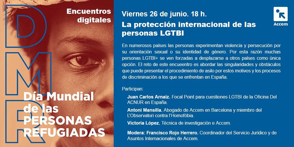 Esta tarde te esperamos en el encuentro de #RefugioDigital sobre personas refugiadas #LGTBI. 🔴 ¡Síguelo en directo a las 18h! https://t.co/9MKuZs2Ry8  Intervendrán: 👉 Juan Carlos Arnaiz, de @ACNURspain 👉 @TonMansilla, de @OCL_H 👉 Victoria López, de Accem https://t.co/6fJ7Iw1Gaj