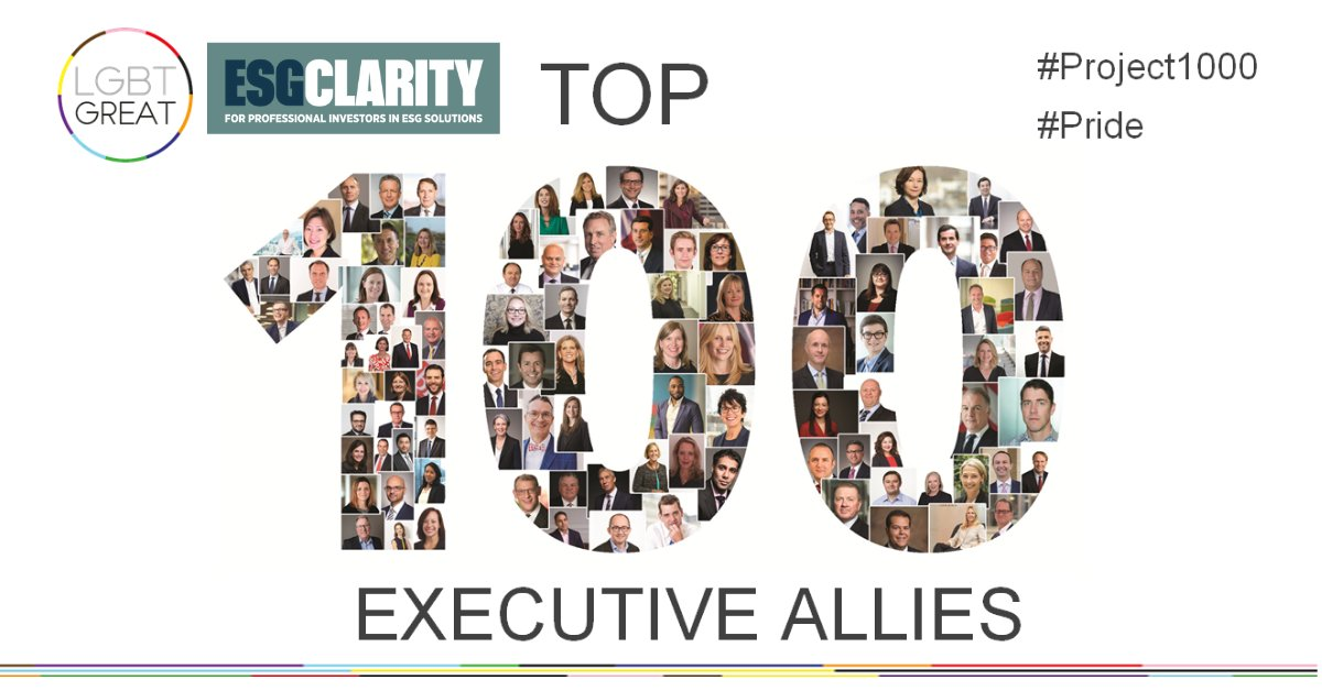 Today is the launch of the LGBT Great Top 100 Executives Allies list and @ESGClarity is proud to be represented in this inspiring initiative. Discover the 100 leaders demonstrating supportive allyship towards others > https://t.co/ytBMD55BEG  #Pride #Project1000 #YouMeUsWe https://t.co/yJA8OyXexA