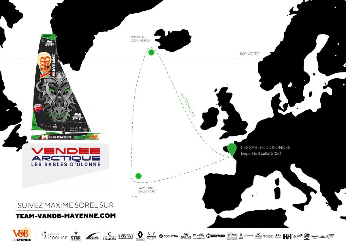 🐲⛵️Suivez l'IMOCA V and B - Mayenne sur https://t.co/EOufHadW2Z ! La Vendée - Arctique - Les Sables d'Olonne sera lancée le 4 juillet à 15h00. Un entraînement grandeur nature en vue du Vendée Globe, hâte d'y être 👍😊 @VandBOfficiel @mcommemayenne @vaincrelamuco https://t.co/WA8vogO1CU