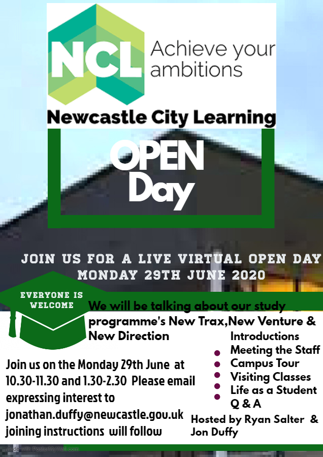Want to find our more about our Study Programmes?  There is still time to register your interest in our Virtual Open Day on Monday 29 June at either 10.30am or 1.30pm. Read the details below and contact jonathan.duffy@newcastle.gov.uk to book your place! https://t.co/PtBZHAiLBg