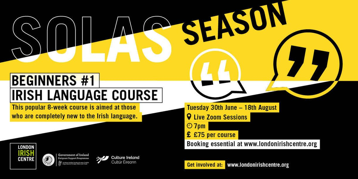 Last few spaces available on our Beginners #1 Irish language course on londonirishcentre.org Don't miss out!