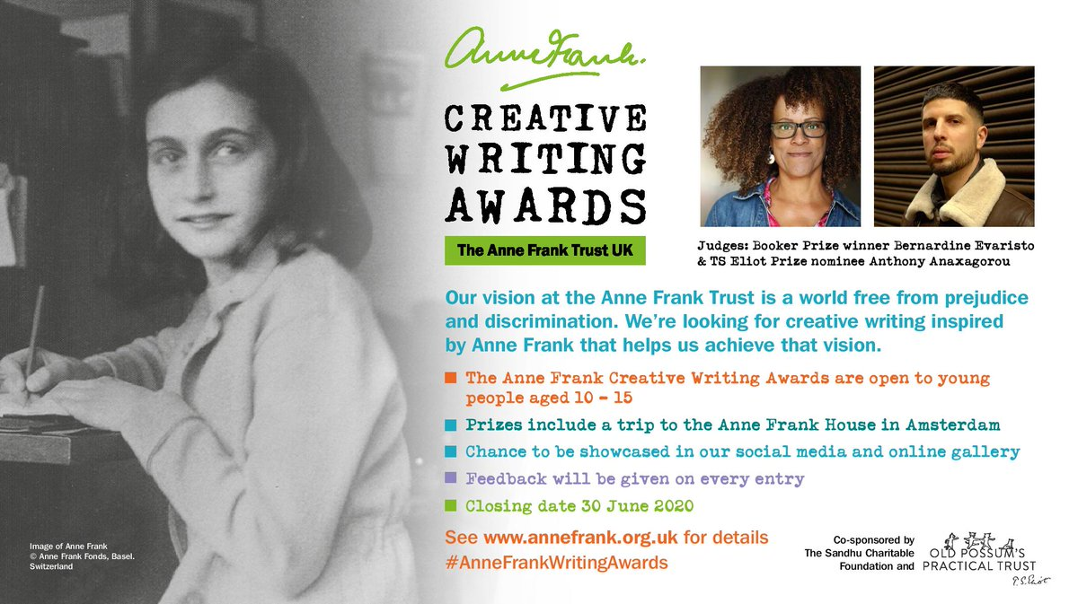 ⏰Time's running out to submit your entry for the #AnneFrankWritingAwards – the deadline is 30 June⏰ Open to young people aged 10-15, the awards will be judged by 2019 Booker Prize winner Bernadine Evaristo & TS Eliot Prize nominee @Anthony1983! 📝- https://t.co/blVhCRV3EF https://t.co/poJ4zqXJ9w