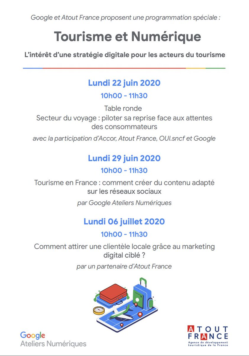 Rendez-vous lundi prochain à 10h pour la 2ème matinée spéciale Tourisme & Numérique avec les #AteliersNumériques Google et @atout_france. Au programme de cette session : comment créer du contenu adapté sur les réseaux sociaux ? 🚀 Inscriptions👉🏼https://t.co/oz0dmkPB8C https://t.co/KhpuCbkV8i