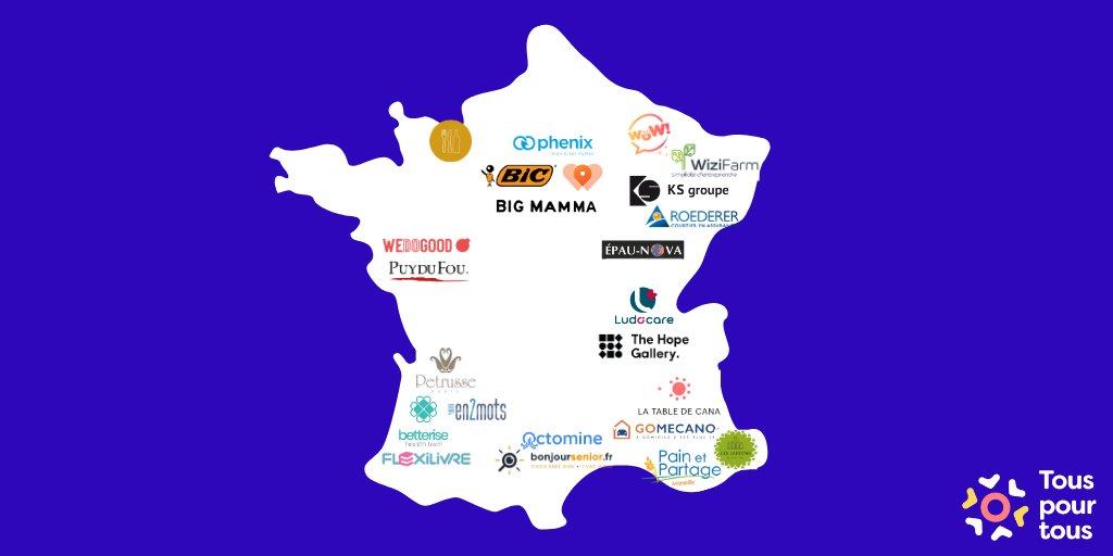 Une cartographie de l'engagement en France vue par @alexandremars et @Tous_pour_tous👇 Fière d'y voir @thehopegallery aux côtés de grands noms ... Et hâte de la voir se remplir #InnovationForEveryone #solidarité